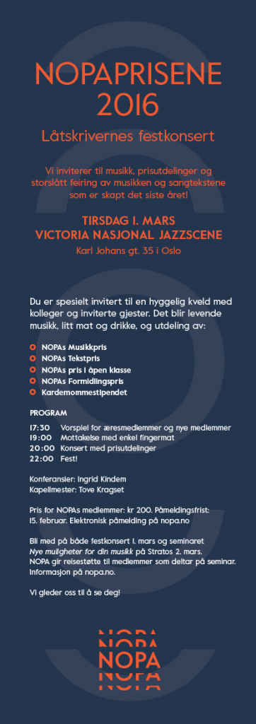 Invitasjon til Låtskrivernes festkonsert. Design: Anagram